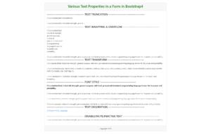 Bootstrap4 Text Properties